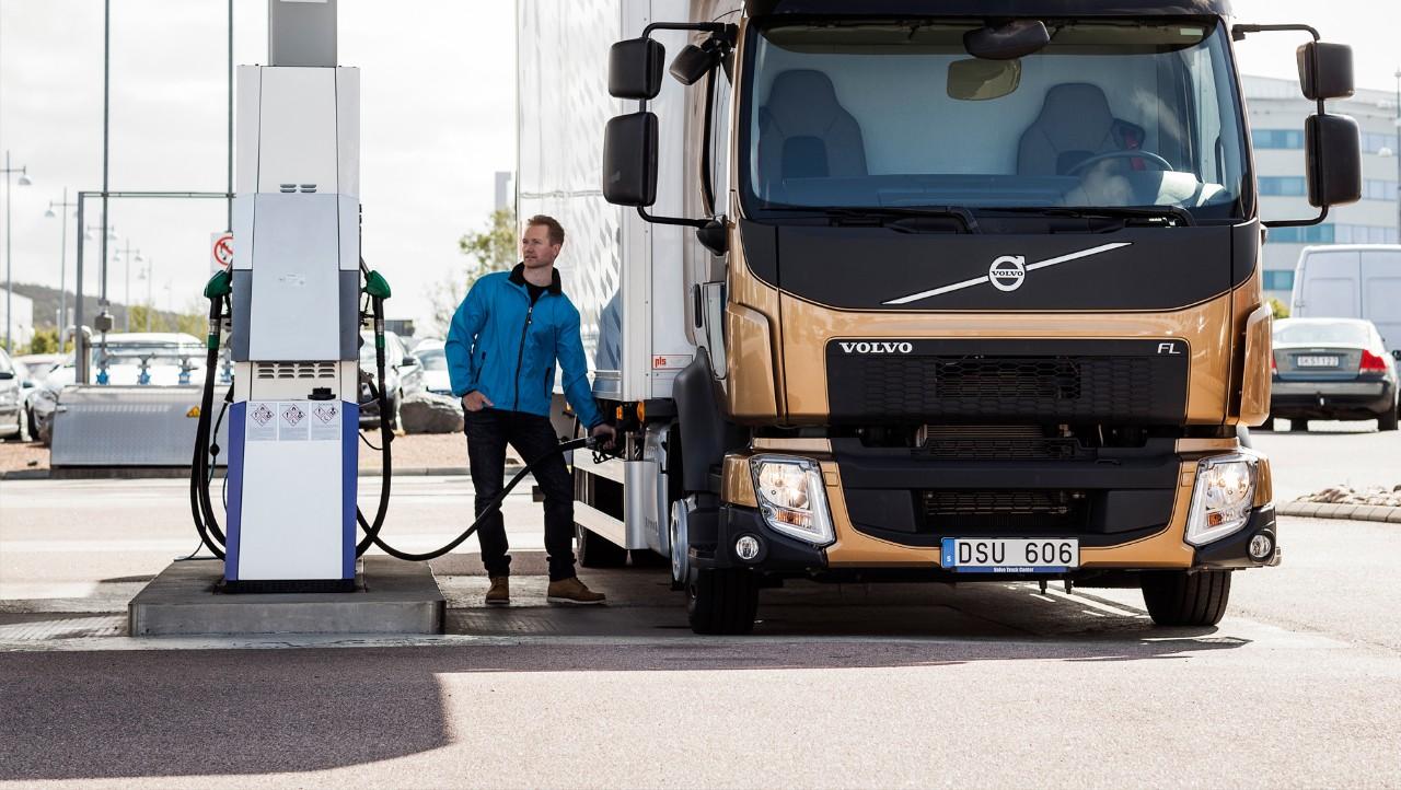 Volvo trucks servicing gas station truck